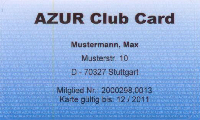 AZUR Club Card